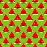 Nahtloser Hintergrund mit Gefühl-Wassermelone Nette Karikatur Auch im corel abgehobenen Betrag vektor abbildung