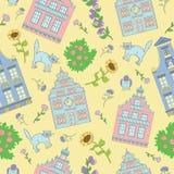 Nahtloser Hintergrund mit Häusern, Katzen und Blumen Stockfotos