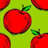 Nahtloser Hintergrund mit Hand gezeichnetem Apfel vektor abbildung