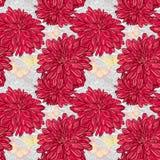 Nahtloser Hintergrund mit Hand gezeichneten roten Blumen und Schmetterlingen. lizenzfreie abbildung