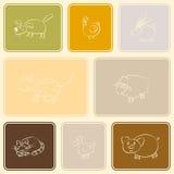 Nahtloser Hintergrund mit Haustier scherzt Zeichnung Stockfoto