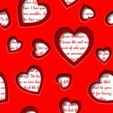 Nahtloser Hintergrund mit herausgeschnittenen Herzen und Text über Liebe Stockbild