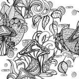 Nahtloser Hintergrund mit Illustrationen von Pilzen und von Anlagen lizenzfreie abbildung