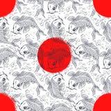 Nahtloser Hintergrund mit japanischen Karpfen Stockfotos