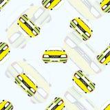 Nahtloser Hintergrund mit Kinderspielzeugautos Stockbild