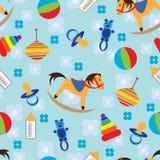 Nahtloser Hintergrund mit Kindspielwaren Stockfotos