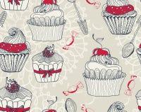 Nahtloser Hintergrund mit kleinen Kuchen Stockbild