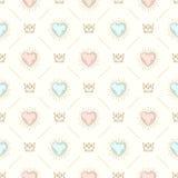 Nahtloser Hintergrund mit Krone und Herzen vektor abbildung