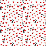 Nahtloser Hintergrund mit Liebes-Wörtern und Herzen Stockfotografie