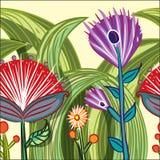 Nahtloser Hintergrund mit Märchenanlagen und -blumen Hand gezeichneter botanischer Mustervektor Stockfotografie