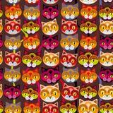 Nahtloser Hintergrund mit Mündung von Katzen auf braunem Hintergrund Stockfotografie
