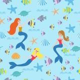 Nahtloser Hintergrund mit Meerjungfrauen, Fische Stockfotografie