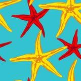 Nahtloser Hintergrund mit Meerstarfish lizenzfreie abbildung