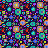 Nahtloser Hintergrund mit mehrfarbigem psychedelischem Muster Stockfotos