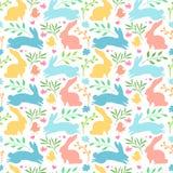 Nahtloser Hintergrund mit mit Kaninchenschattenbild und Kraut, Anlage Blume Ostern-Tapete für Einladung und decoratio stock abbildung