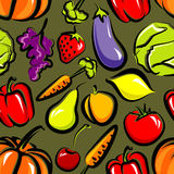 Nahtloser Hintergrund mit Obst und Gemüse Lizenzfreie Stockfotografie
