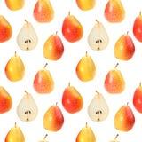 Nahtloser Hintergrund mit orange frischen Birnen Stockfoto