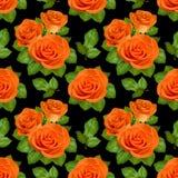 Nahtloser Hintergrund mit orange Rosen auf schwarzem Hintergrund Lizenzfreie Stockfotos