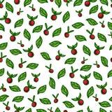 Nahtloser Hintergrund mit roten Beeren und Grün Lizenzfreie Stockfotografie