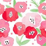 Nahtloser Hintergrund mit roten Blumen Stockfotografie