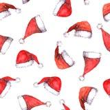 Nahtloser Hintergrund mit roten Sankt-Hüten Stock Abbildung