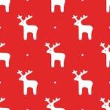 Nahtloser Hintergrund mit Rotwild Vektor in der flachen Art Bereite Weihnachtsschablone Lizenzfreie Stockfotografie