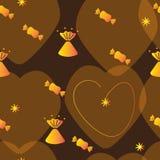 Nahtloser Hintergrund mit Süßigkeit in den Goldverpackungen und mit Herzen lizenzfreie abbildung