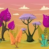 Nahtloser Hintergrund mit schönen Bäumen im magischen Wald Stockfoto