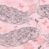 Nahtloser Hintergrund mit schönen Pfaus und Palmblättern stock abbildung