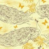 Nahtloser Hintergrund mit schönen Pfaus und Palmblättern vektor abbildung