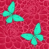 Nahtloser Hintergrund mit Schmetterlingen und Dahlien Von Hand gezeichnete Tiefenlinien Vervollkommnen Sie für Hintergrundgrußkar vektor abbildung