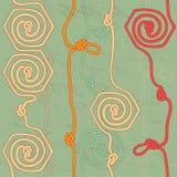 Nahtloser Hintergrund mit Seilen und Knoten Stockbilder