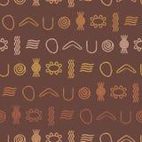 Nahtloser Hintergrund mit Symbolen der australischen eingeborenen Kunst Lizenzfreie Stockbilder