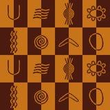 Nahtloser Hintergrund mit Symbolen der australischen eingeborenen Kunst Stockbild