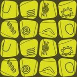 Nahtloser Hintergrund mit Symbolen der australischen eingeborenen Kunst Lizenzfreies Stockfoto