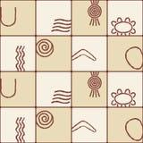 Nahtloser Hintergrund mit Symbolen der australischen eingeborenen Kunst Lizenzfreie Stockfotos
