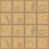 Nahtloser Hintergrund mit Symbolen der australischen eingeborenen Kunst Stockfoto