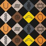 Nahtloser Hintergrund mit Symbolen der australischen eingeborenen Kunst Stockbilder