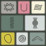 Nahtloser Hintergrund mit Symbolen der australischen eingeborenen Kunst Lizenzfreies Stockbild