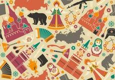 Nahtloser Hintergrund mit Symbolen von Russland Stockfotografie