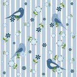 Nahtloser Hintergrund mit Vögeln und Blumen Stockbild