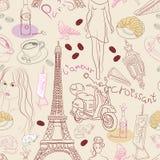 Nahtloser Hintergrund mit verschiedenen Paris-Elementen Stockfoto
