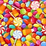 Nahtloser Hintergrund mit verschiedenen Süßigkeiten. Lizenzfreie Stockfotografie