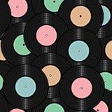 Nahtloser Hintergrund mit Vinylaufzeichnungen Lizenzfreies Stockbild