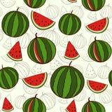 Nahtloser Hintergrund mit Wassermelonen Vektor Abbildung