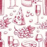 Nahtloser Hintergrund mit Wein vektor abbildung