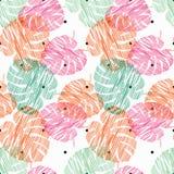 Nahtloser Hintergrund Monstera Nahtloses Muster mit dekorativen Blättern Gekritzelbeschaffenheit Stockbilder