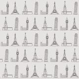 Nahtloser Hintergrund oder Tapete mit Ferien, Reise, Anziehungskräften und berühmten Plätzen Stockbilder