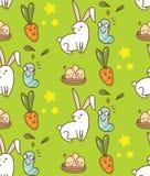 Nahtloser Hintergrund Ostern mit Häschen, Ei und Karotte vektor abbildung