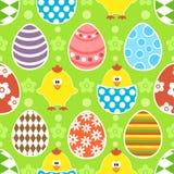 Nahtloser Hintergrund Ostern mit Hühnern Lizenzfreies Stockbild